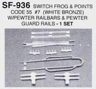 DETAILS WEST  HO Switch Frog Code 55 #7 w/Points & Guard Rails (White Bronze) Set DTW936