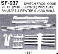 DETAILS WEST  HO Switch Frog Code 70 #7 w/Guard Rails (White Bronze) Set DTW937