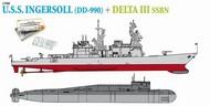 DML/Dragon Models  1/700 USS Ingersoll DD990 Destroyer & Delta III SSBN Submarine DML7114
