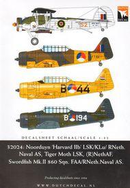 Norduyn Harvard II, de Havilland DH.82 Tiger Moth LS, Fairey Swordfish Mk.II RNeth.AF. No 860 Sqn. FAA(2014) [North-American T-6 Harvard] #DD32024
