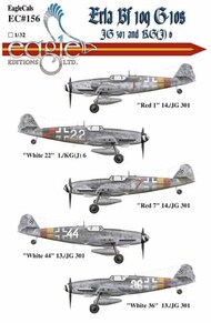 Eagle Editions  1/32 Bf.109 G-10 Erlas: 'Red 1' 14./JG 301; 'White EL32156