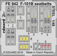 McDonnell F-101B Voodoo seatbelts STEEL (designed to be used with Kitty Hawk Model kits) #EDUFE942