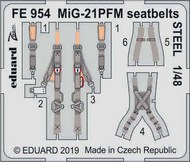 Mikoyan MiG-21PFM seatbelts STEEL (designed to be used with Eduard kits) #EDUFE954