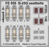 North-American B-25G Mitchell seatbelts STEEL (designed to be used with Italeri kits) #EDUFE956