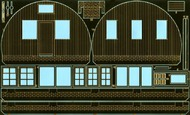 Flightpath UK  1/72 Nissen Hut with Plank-on-Frame Ends - Complete kit in etched brass, plastic, wood and cast metal - provides for building a Nissen hut with alternative style ends of the plank-on-frame type. Optional dormer windows of two widths are also supplied. Nissen h FHP72002B