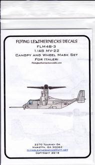 Flying Leathernecks  1/48 Bell MV-22 Osprey Canopy and Wheel Mask Set (designed to be used with Italeri kits) FLM48-3