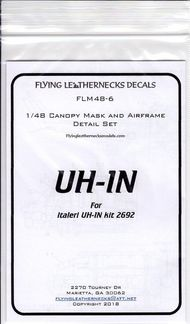 Flying Leathernecks  1/48 Augusta-Bell UH-1N Canopy Mask and Airframe Detail set. (Designed to be used with Italeri kits) FLM48-6