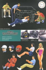 Fujimi  1/24 Mechanic Figures & Driver w/Car Interior Accessories (replaces 11040) FJM11636