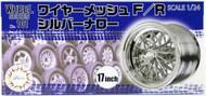 "Fujimi  1/24 Silver Narrow Wire Mesh 17"" Tire & Wheel Set (4) - Pre-Order Item FJM19353"