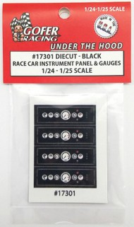 Gofer Racing  1/24-1/25 Race Car Instrument Panel & Gauges Black (Diecut Plastic) GOF17301