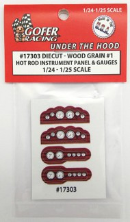 Gofer Racing  1/24-1/25 Hot Rod Instrument Panel & Gauges Wood Grain #1 (Diecut Plastic) GOF17303