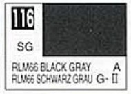 Gunze Sangyo  Gunze Semi-Gloss Solvent-Based Acrylic Semi-Gloss Black Gray RLM66 10ml Bottle GUZ116