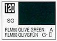 Gunze Sangyo  Gunze Semi-Gloss Solvent-Based Acrylic Semi-Gloss Olive Green RLM80 10ml Bottle GUZ120