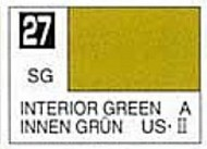 Gunze Sangyo  Gunze Semi-Gloss Solvent-Based Acrylic Semi-Gloss Interior Green 10ml Bottle GUZ27