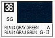 Gunze Sangyo  Gunze Semi-Gloss Solvent-Based Acrylic Semi-Gloss Gray Green RLM74 10ml Bottle GUZC036