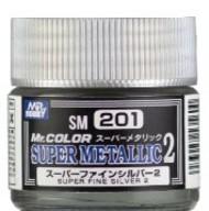 Super Metallic 2 Fine Silver Lacquer 10ml Bottle #GUZSM201