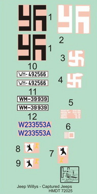 H-Model Decals  1/72 Willys Jeep MB/Ford GPW: Captured Jeeps HMT72025
