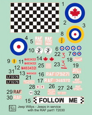 H-Model Decals  1/72 Willys Jeep MB/Ford GPW: RAF Jeeps, Pt.1 HMT72030