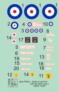 H-Model Decals  1/72 Willys Jeep MB/Ford GPW: RAF Jeeps, Pt.2 HMT72031