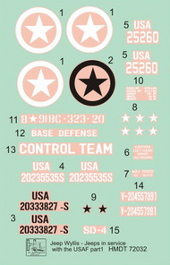 H-Model Decals  1/72 Willys Jeep MB/Ford GPW: USAAF Jeeps HMT72032