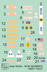 H-Model Decals  1/72 Willys Jeep MB/Ford GPW: NCB Seabees HMT72033