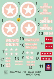 H-Model Decals  1/72 Willys Jeep MB/Ford GPW: VIP Jeeps, Pt.2 HMT72039