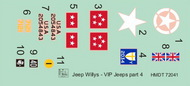 H-Model Decals  1/72 Willys Jeep MB/Ford GPW: VIP Jeeps, Pt.4 HMT72041