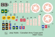H-Model Decals  1/72 Willys Jeep MB/Ford GPW: Canadian Army Corps HMT72043