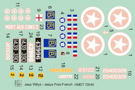 H-Model Decals  1/72 Willys Jeep MB/Ford GPW: Free French Jeeps HMT72044