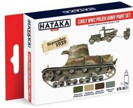 Hataka Hobby  Hataka Red Line (Airbrush-Dedicated) Red Line (Airbrush-Dedicated): Early WWII Polish Army 1939 Paint Set (4 Colors) 17ml Bottles HTKAS11