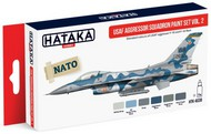 Hataka Hobby  Hataka Red Line (Airbrush-Dedicated) Red Line (Airbrush-Dedicated): USAF Aggressor Sq. F15/16 Fleet  Vol.2 Paint Set (6 Colors) 17ml Bottles HTKAS30