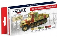 Hataka Hobby  Hataka Red Line (Airbrush-Dedicated) Red Line (Airbrush-Dedicated): 1945 WWII German AFV Panel Lighting Paint Set (6 Colors) 17ml Bottles HTKAS36