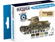 Hataka Hobby  Hataka Blue Line (Brush-Dedicated) Blue Line (Brush-Dedicated): Early WWII Polish Army 1939 Paint Set (4 Colors) 17ml Bottles HTKBS11