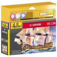 Heller  1/500 Le Superbe 3-Masted Sailing Ship w/Paint & Glue HLR49067