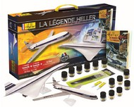 Heller  1/100 Caravelle & Concorde Air France Airliners w/Paint, Glue & Heller History Book-French (60th Anniversary Ltd Re-Edition) HLR52324