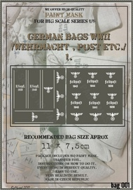 HQ-Masks  1/6 11 x 7,5cm   WWII German Bags /Wehrmacht,Post,etc/ paint mask HQ-BAG6001