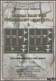 HQ-Masks  1/6 14 x 7cm   WWII German Bags /Wehrmacht,Post,etc/ paint mask HQ-BAG6002