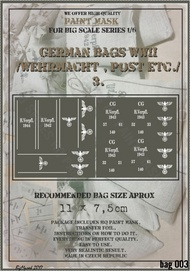 HQ-Masks  1/6 11 x 7,5cm   WWII German Bags /Wehrmacht,Post,etc/ paint mask HQ-BAG6003