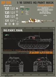 HQ-Masks  1/16 Jagdpanther 1.Kompanie s.Pz.Jg.Abt.654 France January 1945 - unterofficer Karl-Heinz Danisch Paint Mask HQ-JGP16009