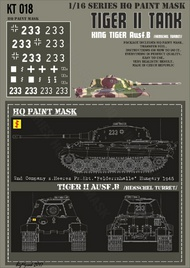 HQ-Masks  1/16 Kingtiger 2nd Company s.Heeres Pz.Abt. 'Felderrnhalle' Hungary March 1945 Paint Mask HQ-KT16018