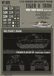 HQ-Masks  1/16 Kingtiger 3rd Company s.Heeres Pz.Abt. 'Felderrnhalle' Hungary Januar 1945 Paint Mask HQ-KT16025