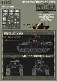 HQ-Masks  1/16 Befehls Panther G 654 Tank Battalion Oct.1944 Paint Mask HQ-PA16003