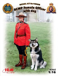 ICM Models  1/16 Royal Canadian Mounted Police Female Officer w/Dog (New Tool) ICM16008