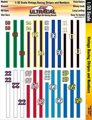INNOVATIVE HOBBY SUPPLY  1/32 UltraCal Hi-Def Peel & Stick Decals:  Vintage Racing Stripes & Numbers IHS3321