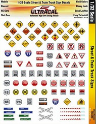 INNOVATIVE HOBBY SUPPLY  1/32 UltraCal Hi-Def Peel & Stick Decals:  Street & Train Track Signs IHS3350