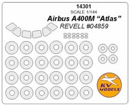 KV Models  1/144 Airbus A400M Atlas canopy paint mask AND wheel paint mask masks KV14301