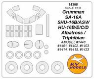 KV Models  1/144 Grumman HU-16B/E/C/D / SA-16A / SHU-16B/ASW Albatross / Triphibian canopy paint mask AND wheel paint mask masks KV14308
