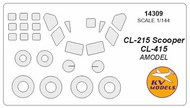 KV Models  1/144 Canadair CL-215 Scooper / CL-415 canopy paint mask AND wheel paint mask masks KV14309