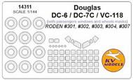 KV Models  1/144 Douglas DC-6 / DC-7 / VC-118 + passengers windows and wheels masks KV14311