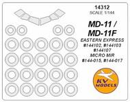 KV Models  1/144 McDonnell-Douglas MD-11 canopy paint mask AND wheel paint mask masks KV14312